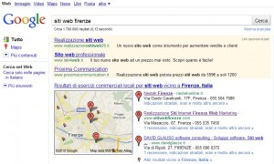 Google SERP siti web firenze: neotekonline.it primo risultato sulla mappa